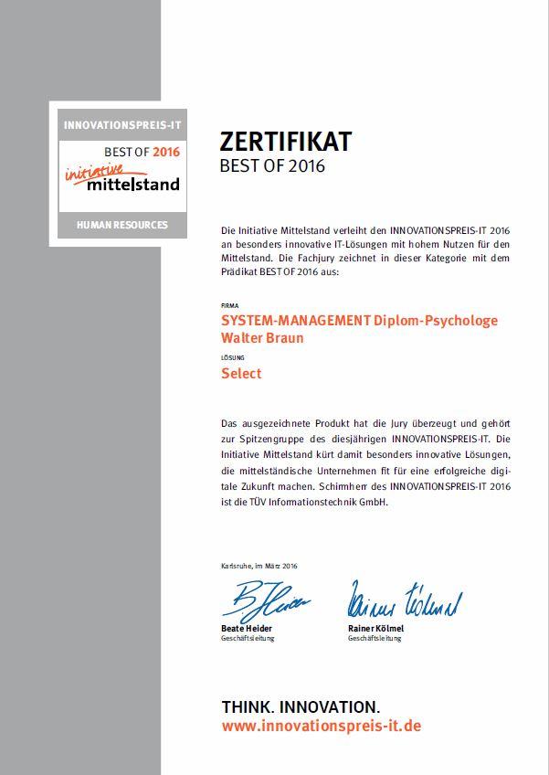 Certificate 2016